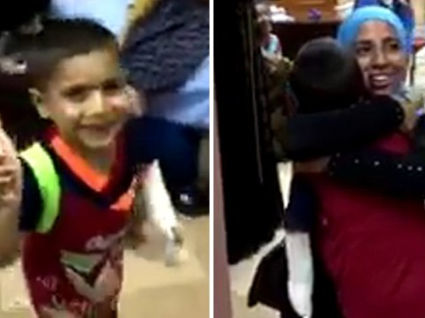Touching moment boy, 5, is reunited with his mum in Mosul