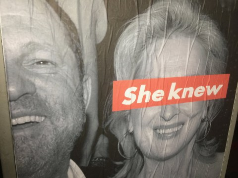 Posters pop up around LA accusing Meryl Streep of knowing about Harvey Weinstein's behaviour