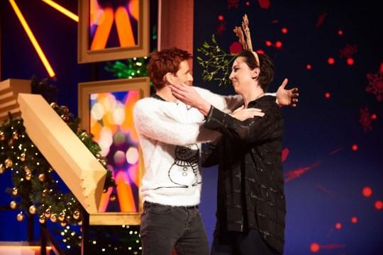 69 Boyz Christmas.Miranda Hart And David Tennant Share A Festive Kiss For