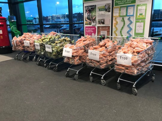 Asda supermarket gives away loads of free veg
