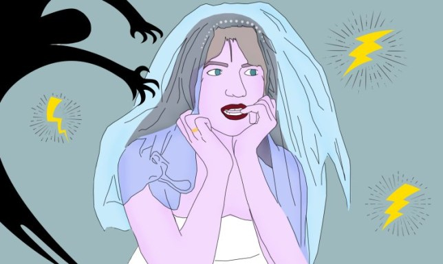 An illustration of a bride with anxiety