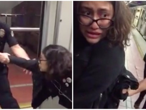 Cop forcibly drags 18-year-old off train 'because she had her foot on seat'