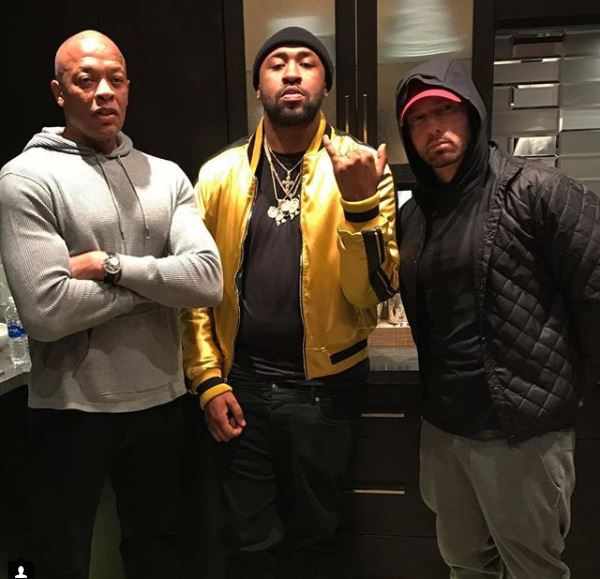 Eminem hits the studio with Dr Dre and Mike Will Made-It
