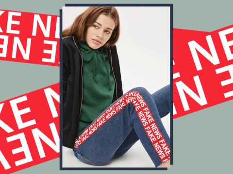 Topshop is selling some 'Fake News' jeans and they're actually pretty stylish