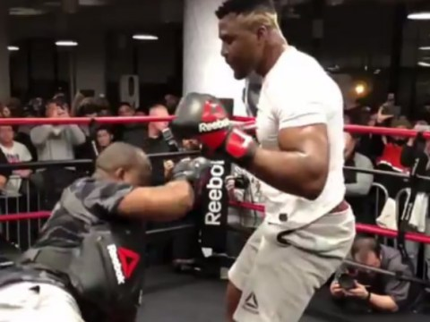 Watch: Francis Ngannou floors his coaching during UFC 220 open workout