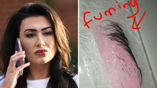 Lauren Goodger sports painful scars from recent botched eyebrow wax