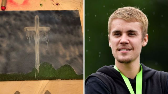 Justin Bieber shows off a new level of artistry as he paints masterpiece for charity