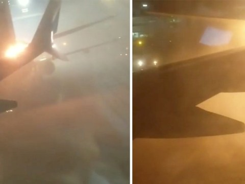 Passengers filmed screaming as plane wing explodes during collision at airport