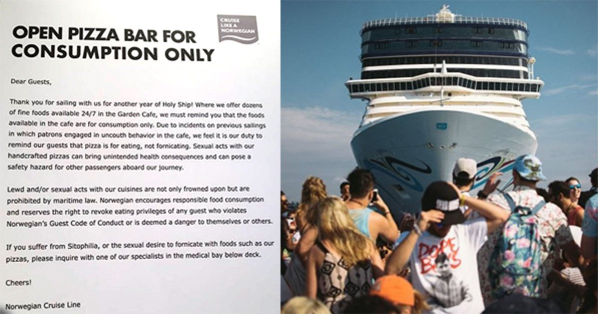 Letter reminding cruise ship guests not to have sex with pizza appears on board