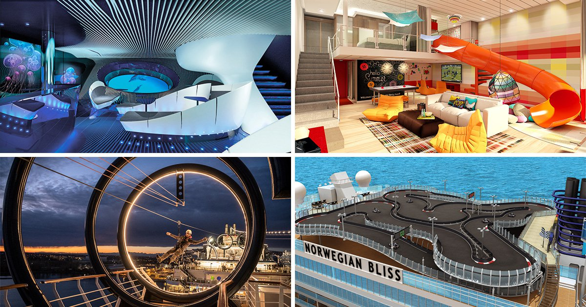 Go-kart tracks, zip lines, helicopters and £38,000-a-week suites: exciting features of new cruise ships in 2018