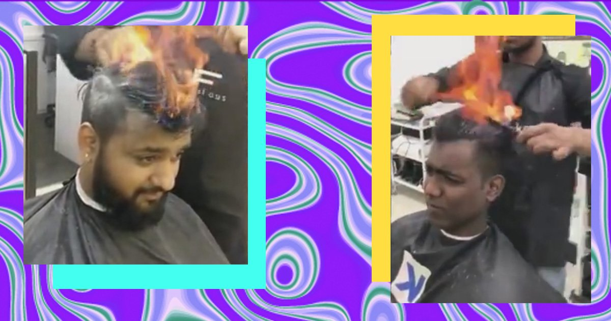 Fire haircuts are an actual thing at this Indian salon and spa