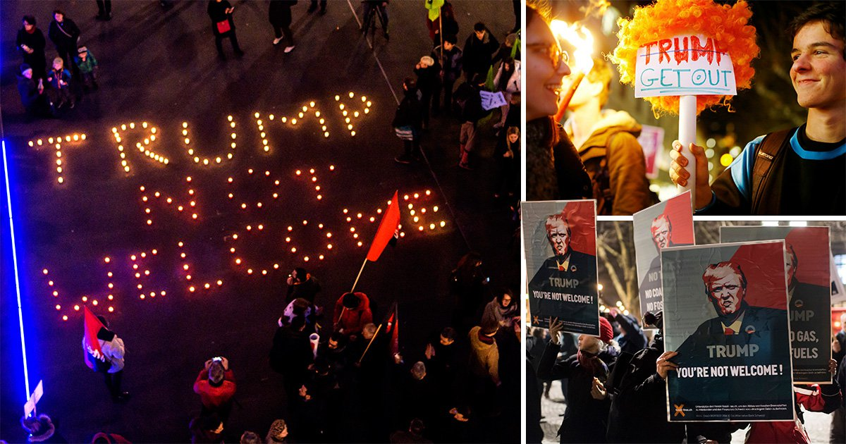 Thousands take to streets to protest Donald Trump's presence at Davos