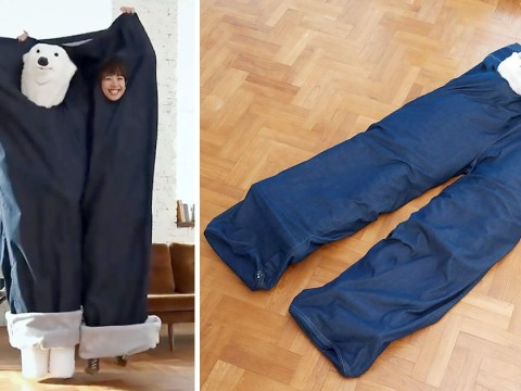 Couples in Japan are showing off their love by snuggling in giant pairs of jeans