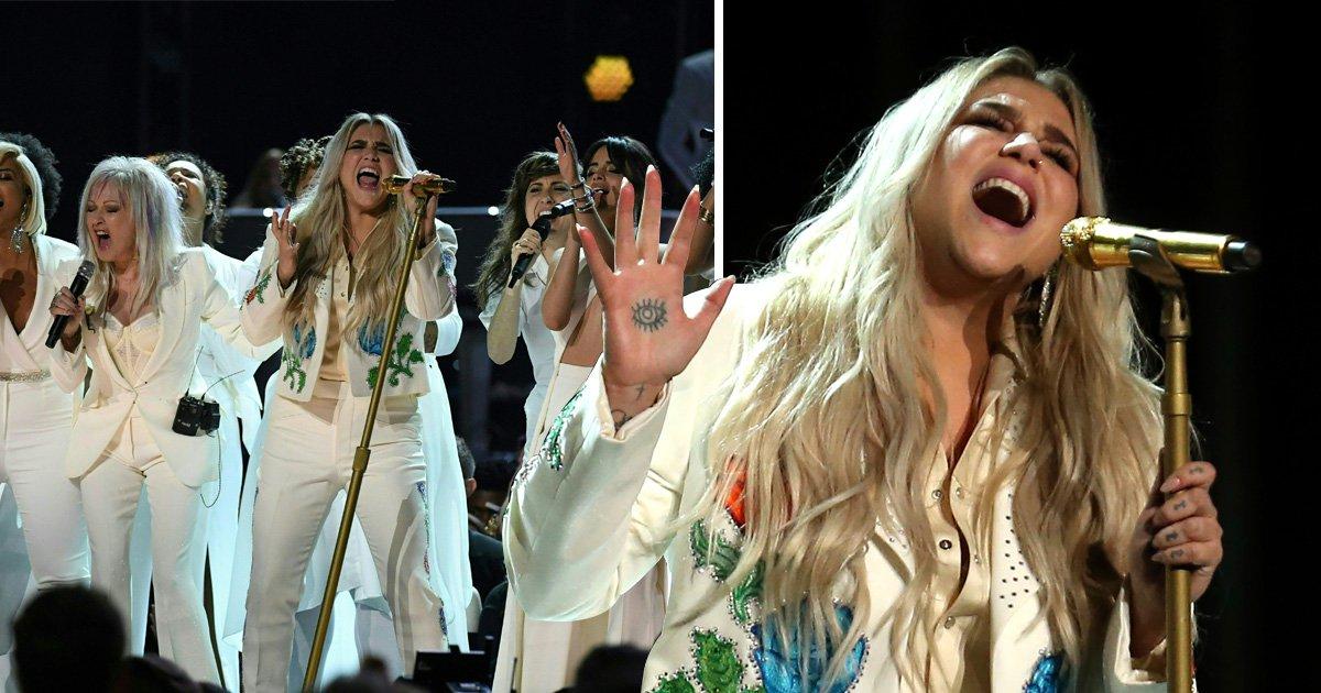 Kesha breaks down in tears after powerful Grammys performance of Praying