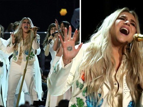 Kesha breaks down in tears after powerful Grammys performance of Praying