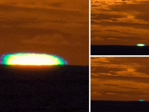 Super-rare green sunset over the Cook Islands caught on camera