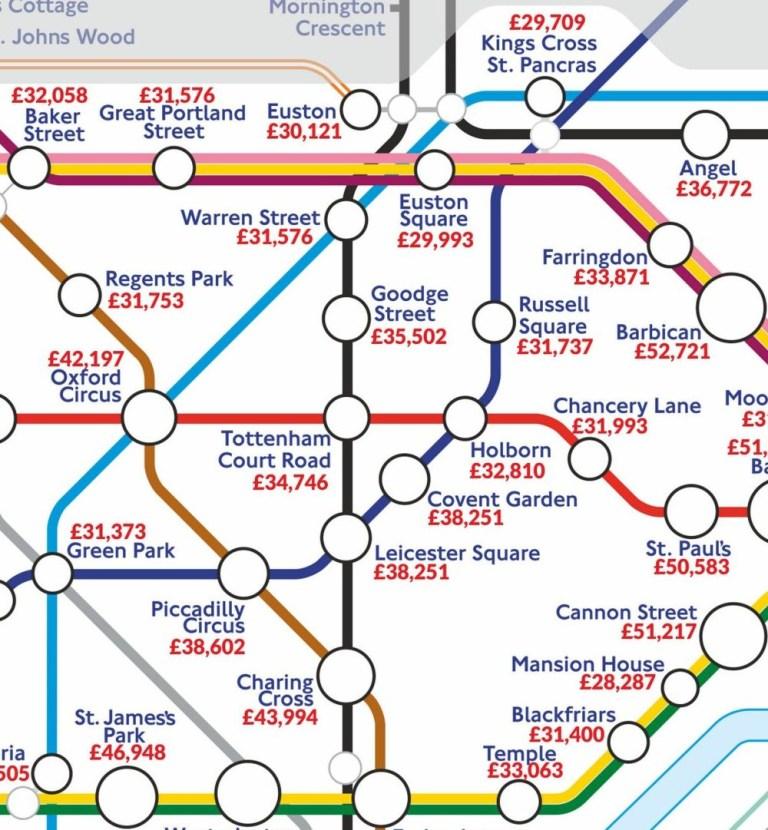London Tube map shows where highest paid jobs are near