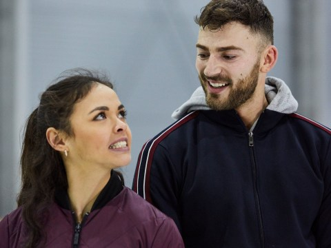 Dancing On Ice's Jake Quickenden gets told off by partner Vanessa Bauer for rubbing his groin