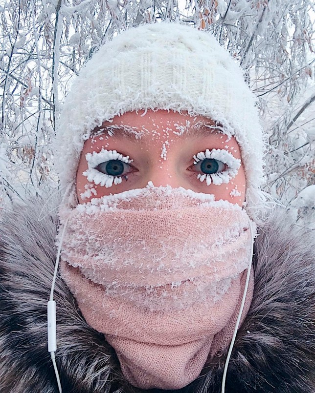 It's so cold in Russia people's eyelashes are freezing - it's -62°C