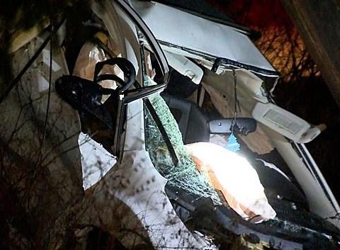 Three injured in crash so violent it split car in half