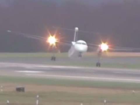Plane forced to land sideways in intense crosswinds