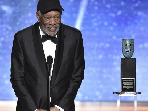 Morgan Freeman has not got time for people talking during his speech at SAG Awards