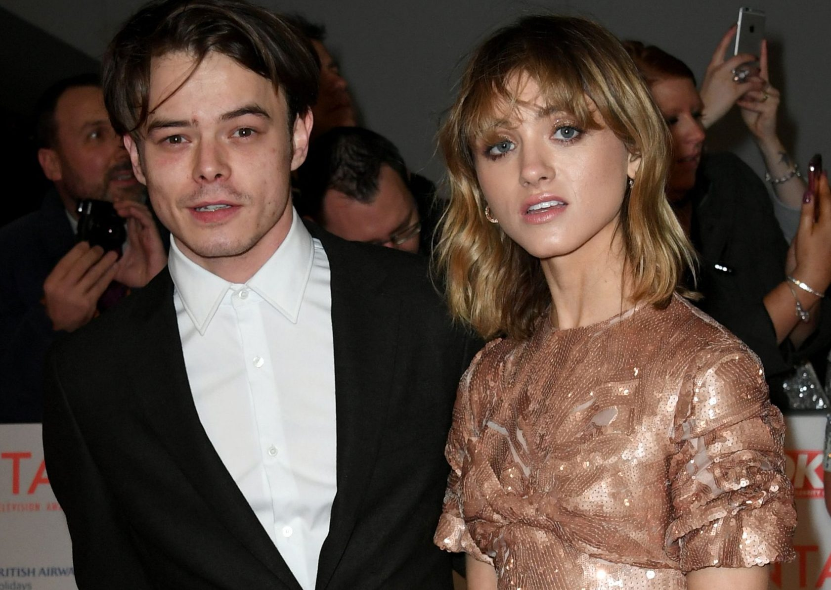 Stranger Things star Charlie Heaton attends NTAs with Natalia Dyer after missing SAG Awards