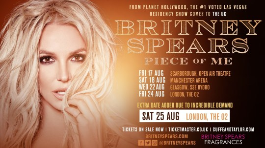 Britney Spears extra UK tour date tickets selling for up to £1,250