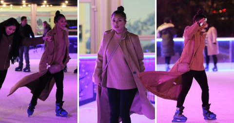 Vanessa White is seen getting her skates on as she shows off her skills on the ice