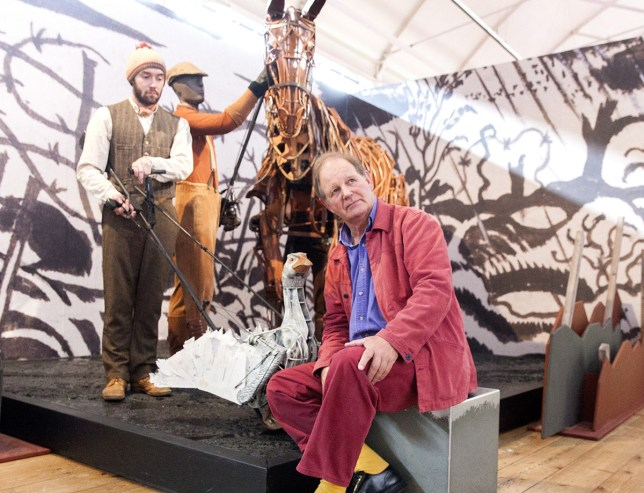 Author Michael Morpurgo and scenes from War House, V&A, London