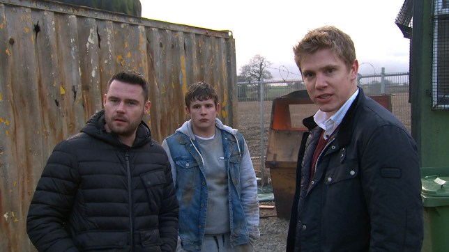 Robert and Aaron fight with Joe in Emmerdale