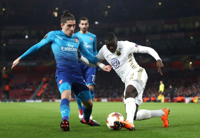 45cbe93a1bf Arsenal were forced into wearing their away blue kit against Ostersunds  (Picture  Getty)