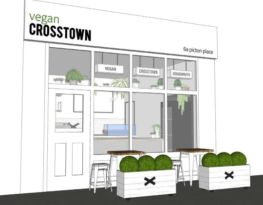 An artist illustration of Vegan Crosstown, soon to open in Marylebone
