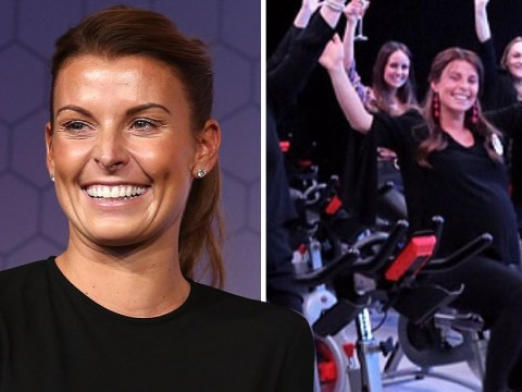 Coleen Rooney surprised with spin class-themed surprise baby shower as she shows off massive bump