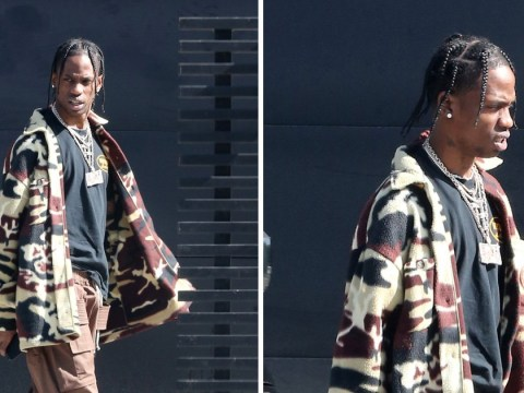 Travis Scott pictured for first time since welcoming first baby with Kylie Jenner