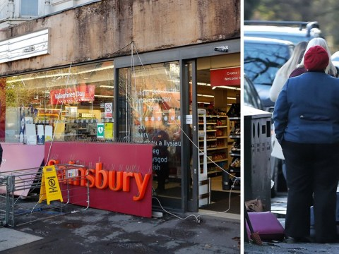 Woman taken to hospital after 40ft Sainsbury's sign falls on her head