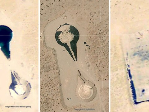 Pictures show construction of object shaped like 'alien UFO' near Area 51