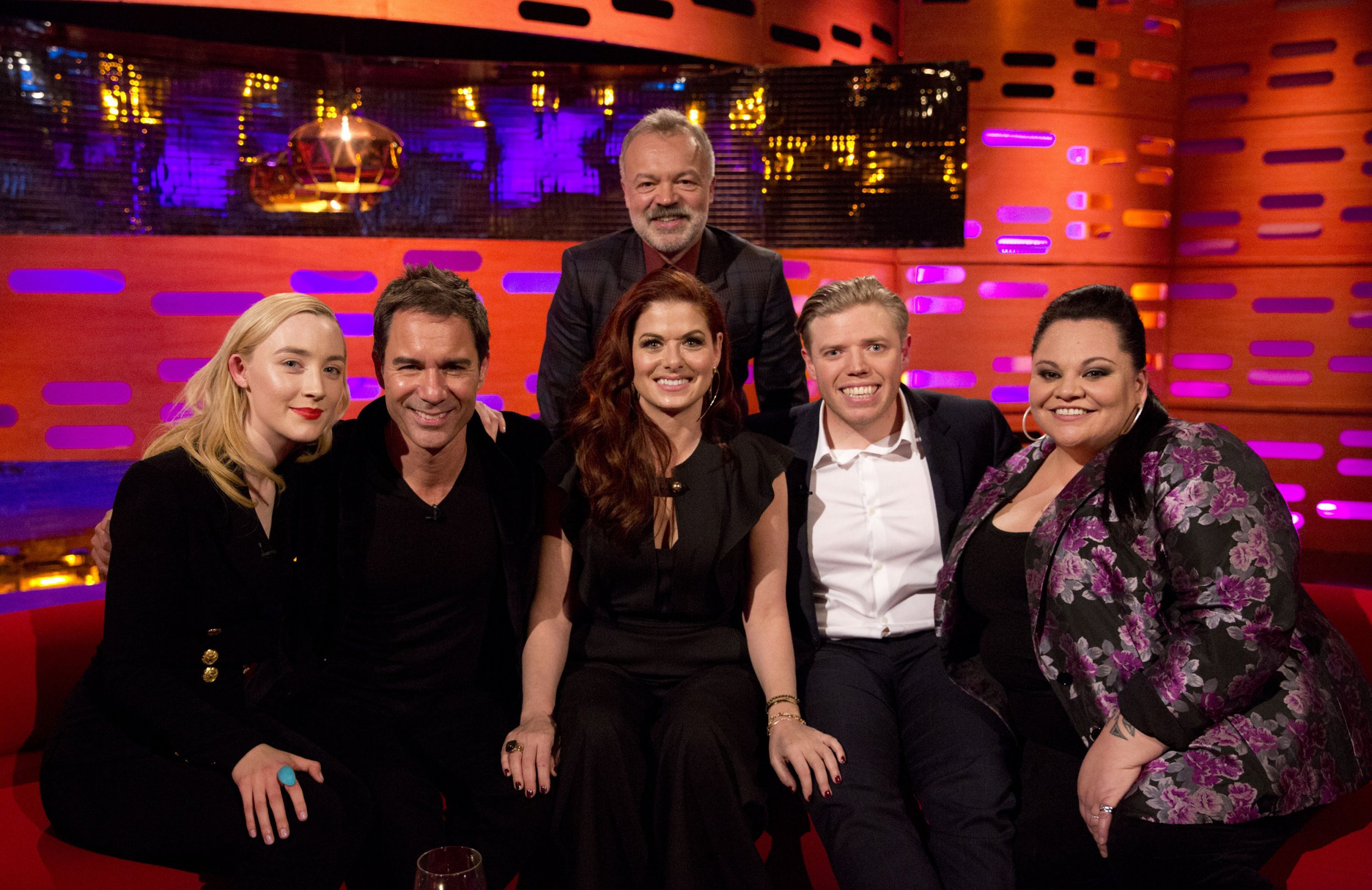 Saoirse Ronan, Eric McCormack, Debra Messing, Rob Beckett Keala Settle Graham Norton