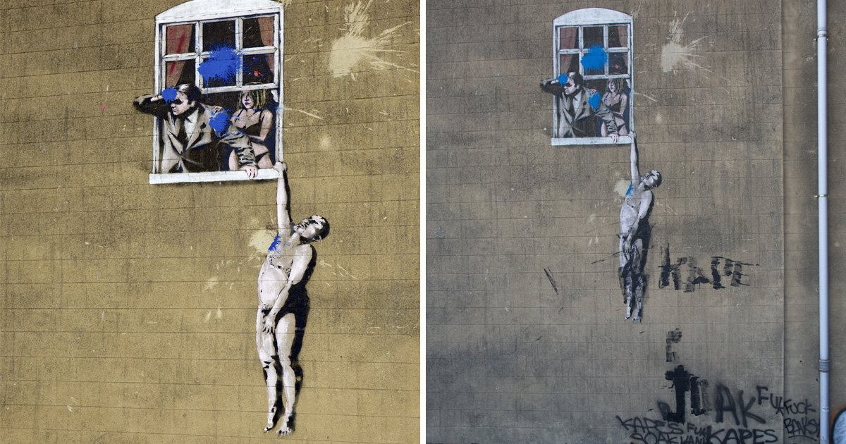 Iconic Banksy 'Well Hung Lover' artwork defaced by vandals in Bristol