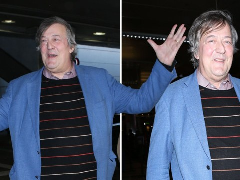 Stephen Fry pictured looking happy and carefree hours after revealing cancer battle