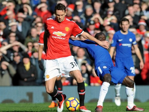 Nemanja Matic celebrates getting the better of N'Golo Kante after Manchester United's win over Chelsea