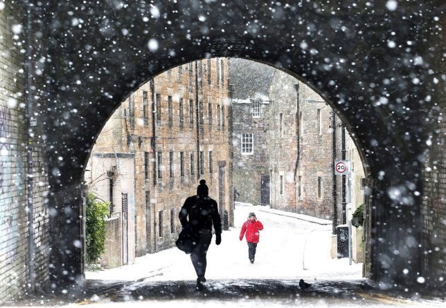 """PABest A view through the falling snow looking down the Croft-an-Righ in Holyrood, Edinburgh, as the """"Beast from the East"""" brings wintry weather and freezing temperatures to much of the country. PRESS ASSOCIATION Photo. Picture date: Wednesday February 28, 2018. See PA story WEATHER Snow. Photo credit should read: Jane Barlow/PA Wire"""