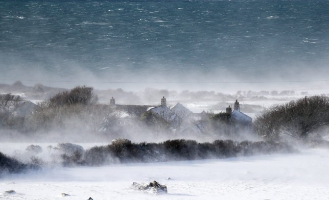 "ST IVES, UNITED KINGDOM - FEBRUARY 28: Snow drifts in fields near the village of Zennor close to St Ives on February 28, 2018 in Cornwall, England. Freezing weather conditions dubbed the ""Beast from the East"" has brought snow and sub-zero temperatures to many parts of the UK. Amber warnings are in place in northern England, the East Midlands, London, the d south-east of England. Scotland's weather warning has been upgraded to red, which meansby Matt Cardy/Getty Images)"