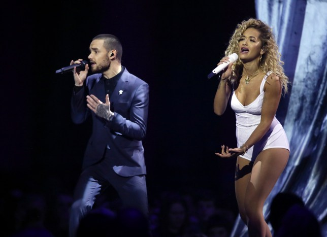Rita Ora and Liam Payne perform at the Brit Awards 2018 in London, Wednesday, Feb. 21, 2018. (Photo by Joel C Ryan/Invision/AP)