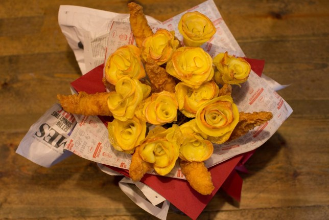 Simpsons fish and chips Valentine Bouquet