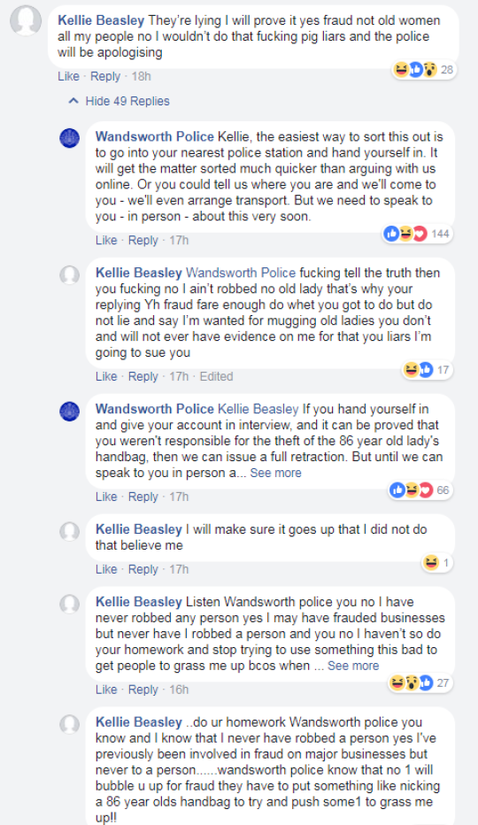 Woman gets into Facebook row with police while they search