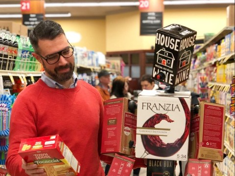 Single man builds boyfriend out of boxes of wine