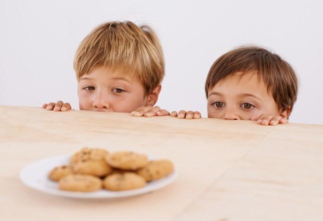 Kids looking at cookie jar