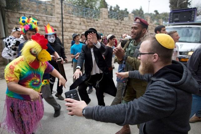 people celebrating the Jewish holiday of Purim