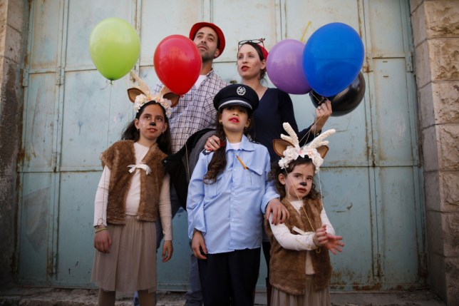 A Jewish family celebrates Purim in Israel